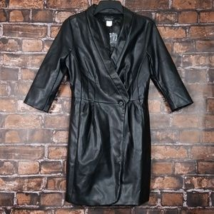 Venus| Faux Leather Wrap Dress Jacket